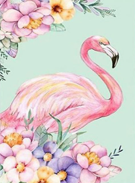 DIY-DIAMOND PAINTING/PAINT WITH DIAMONDS-FLORAL FLAMINGO
