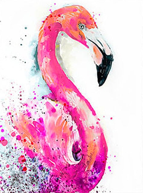 DIY-DIAMOND PAINTING/PAINT WITH DIAMONDS-FLAMINGO MOSAIC