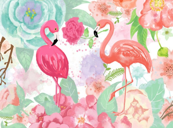 DIY-DIAMOND PAINTING/PAINT WITH DIAMONDS-FLORAL FLAMINGOS