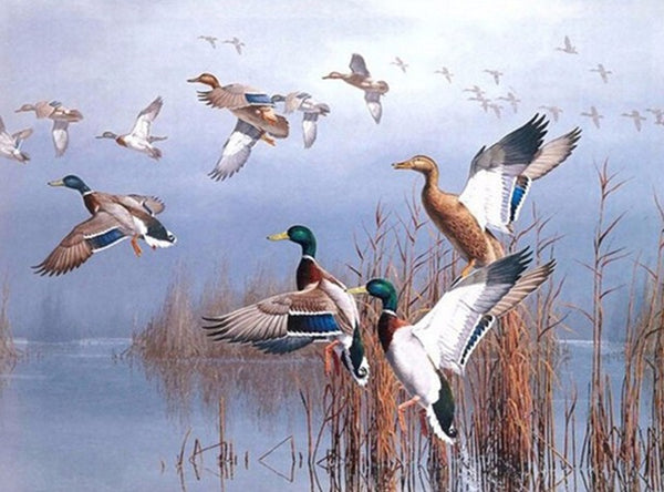 DIY-DIAMOND PAINTING/PAINT WITH DIAMONDS-FLOCK OF GEESE