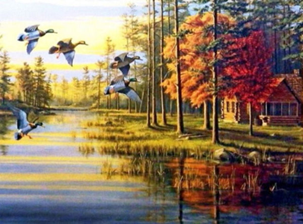 DIY-DIAMOND PAINTING/PAINT WITH DIAMONDS-GEESE ON THE LAKE