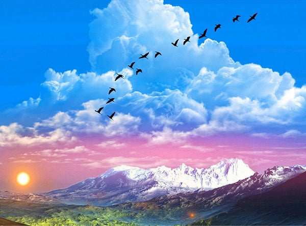 DIY-DIAMOND PAINTING/PAINT WITH DIAMONDS-BIRDS IN THE CLOUDS