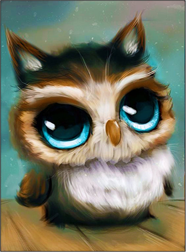 DIY-DIAMOND PAINTING/PAINT WITH DIAMONDS KIT-BABY OWL