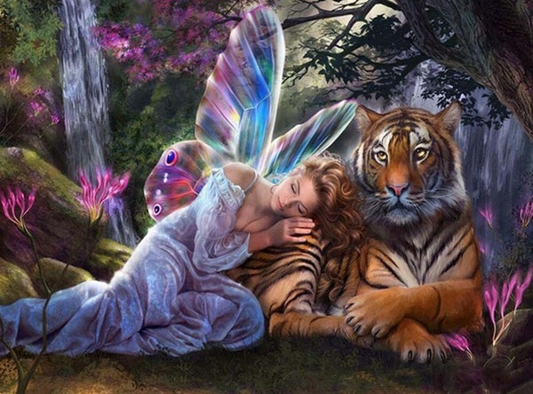 DIY-DIAMOND PAINTING/PAINT WITH DIAMONDS-BUTTERFLY FAIRY TIGER