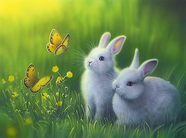 DIY-DIAMOND PAINTING/PAINT WITH DIAMONDS-BUNNIES AND BUTTERFLIES