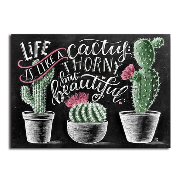 DIY-DIAMOND PAINTING/PAINT WITH DIAMONDS-LIFE IS LIKE A CACTUS
