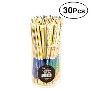 30pcs Premium Distinct Colored Pencils Four-color Triangle Pole Pencils Set for Artists Sketchers Painter (Assorted Color)