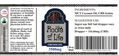 Roots of Life 3500mg CBD Isolate Tincture CBD Oil Label