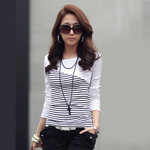 T Shirt Women Clothes 2017 Striped Tshirt Long Sleeve Tops Womens Clothing T-Shirts Cotton Casual Tee Shirt Femme Poleras Mujer - Shopper Bytes