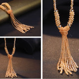European style fashion collocation of shiny string beads necklace high-grade crystal long tassels women - Shopper Bytes
