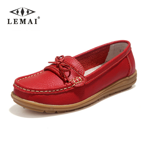 Shoes Woman 2017 Genuine Leather Women Shoes Flats 4Colors Loafers Slip On Women's Flat Shoes Moccasins #WD2872 - Shopper Bytes