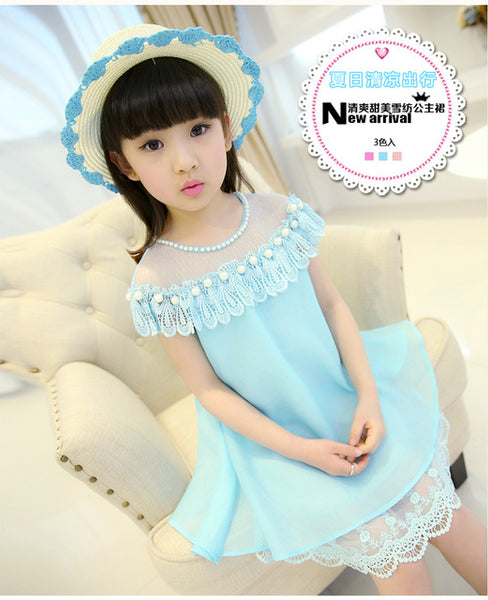 2017 New Summer Costume Girls Princess Dress Children's Evening Clothing Kids Chiffon Lace Dresses Baby Girl Party Pearl Dress - Shopper Bytes