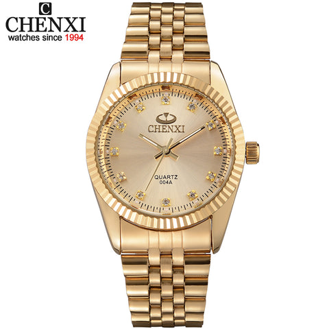 Golden New Clock gold Fashion Men watch full gold Stainless Steel Quartz watches Wrist Watch Wholesale CHENXI Gold watch men - Shopper Bytes
