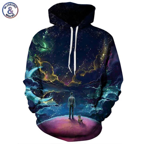 Mr.1991INC Colorful Clouds Sky Hoodies Men/Women 3d Sweatshirts Print Person and Dog Hoody Unisex Hooded Tracksuits Tops - Shopper Bytes