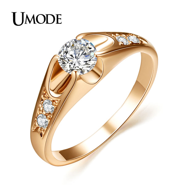 UMODE  Rose Gold Color Mounting anel feminino aneis bijoux 0.5 ct Zirconia  Engagement Jewelry Rings JR0064A - Shopper Bytes