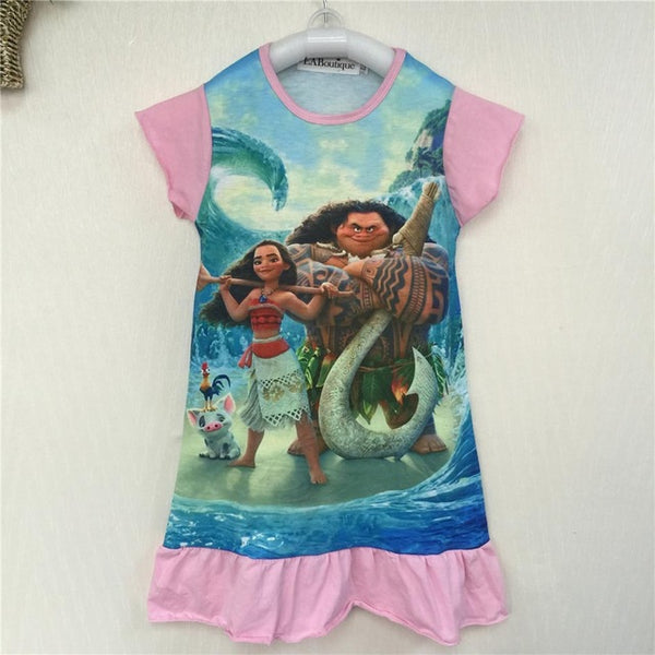 EABoutique cotton fabric girls dress cartoon princess Moana Trolls double printed ruffles style kids clothing for 4-10 year old - Shopper Bytes