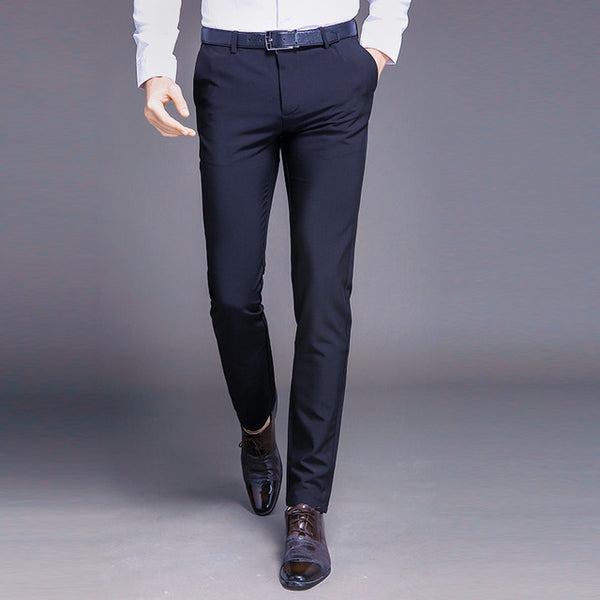 Fashion New High Quality Cotton Men Pants Straight Spring and Summer Long Male Classic Business Casual Trousers Full Length Mid - Shopper Bytes