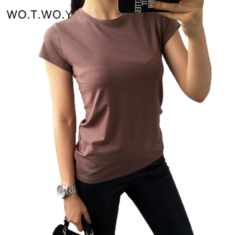 High Quality 18 Color S-3XL Plain T Shirt Women Cotton Elastic Basic T-shirts Female Casual Tops Short Sleeve T-shirt Women 002 - Shopper Bytes