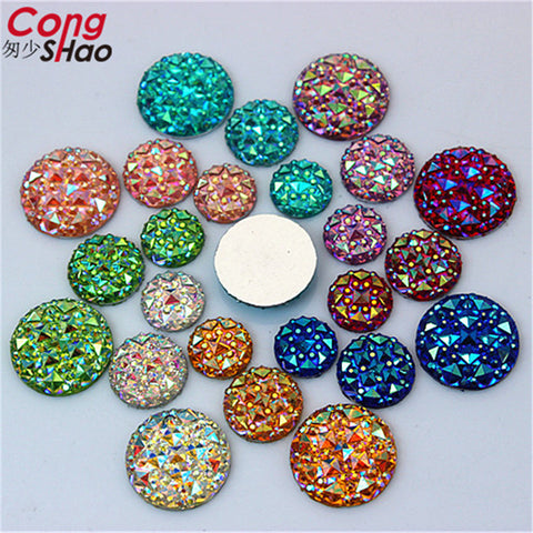 Cong Shao100PCS 10mm12mm16mm Resin Rhinestones AB  Round flatback Rhinestones Beads Scrapbooking crafts Jewelry Accessories ZZ32 - Shopper Bytes