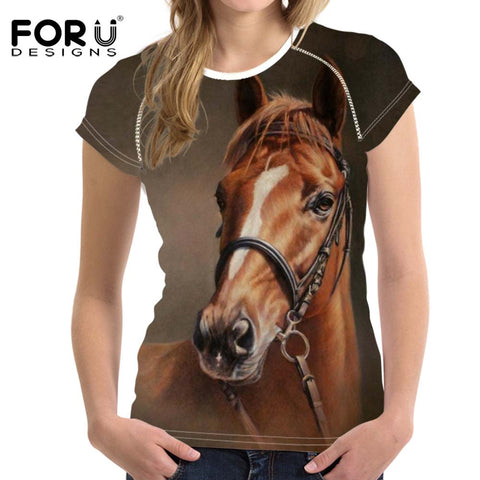 FORUDESIGNS Woman Tops T-shirt 3D Crazy Horse Summer Short Sleeved Casual Shirt For Women Slim Bodybuilding Feminine Clothes - Shopper Bytes