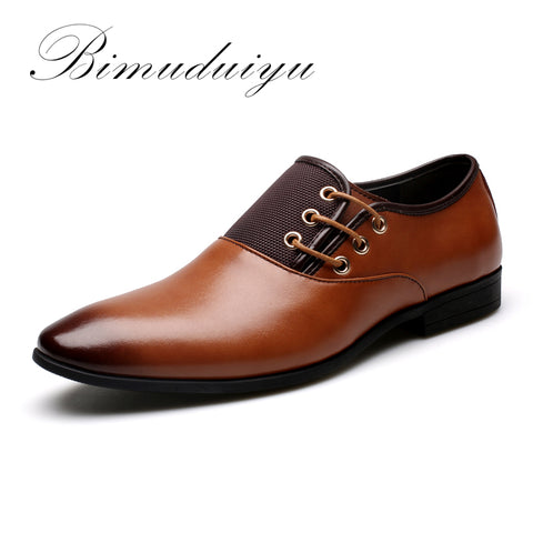 BIMUDUIYU Big Size 6.5-12 New Fashion Men Wedding Dress Shoes Black Shoes Round Toe Flat Business British Lace-up Men's shoes - Shopper Bytes