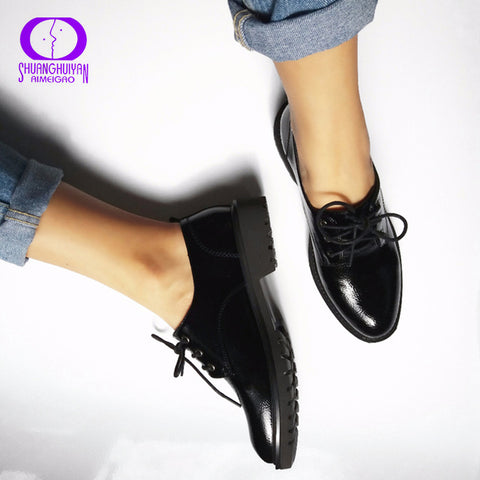 Flats British Style Oxford Shoes Women Spring Soft Leather Oxfords Flat Heel Casual Shoes Lace Up Womens Shoes Retro Brogues - Shopper Bytes