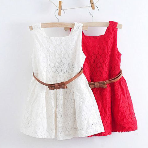 2017 Summer Lace Vest Girls Dress Baby Girl Princess Dress 2-8 Years Children Clothes Kids Party Clothing For Girls Free Belt - Shopper Bytes