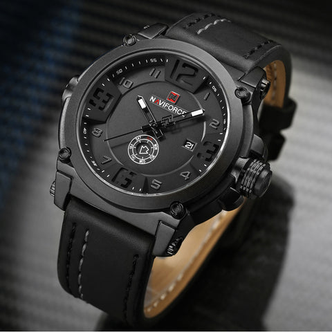 NAVIFORCE Mens Watches Top Brand Luxury Sport Quartz-Watch Leather Strap Clock Men Waterproof Wristwatch relogio masculino 9099 - Shopper Bytes