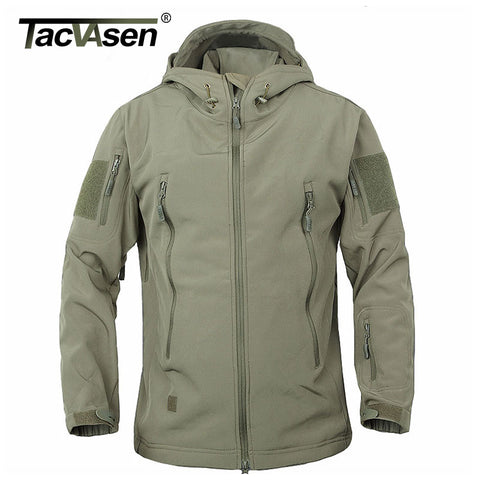 TACVASEN Army Camouflage Coat Military Tactical Jacket Men Soft Shell Waterproof Windproof Jacket Coat Plus Size 4XL Raincoat - Shopper Bytes