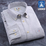 Langmeng 2017 brand 100% cotton solid striped shirt men spring casual shirts oxford dress shirt camisa masculina white black - Shopper Bytes