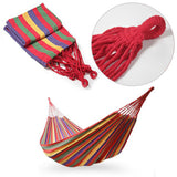 Portable Cotton Rope Outdoor Swing Fabric Camping Hanging Hammock Canvas Bed - Shopper Bytes