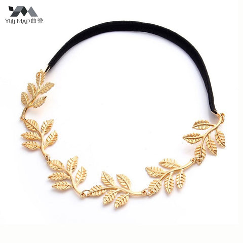 YouMap Fashion Tiara Noiva Metal Gold Chain Flower Leaf Hairband For Wedding Bridal Hair Accessory Women Forehead Jewelry - Shopper Bytes
