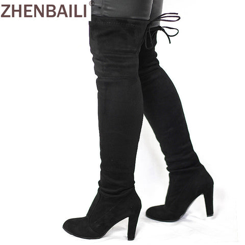 Women Faux Suede Thigh High Boots Fashion Over the Knee Boot Stretch Flock Sexy Overknee High Heels Woman Shoes Black Red Gray - Shopper Bytes