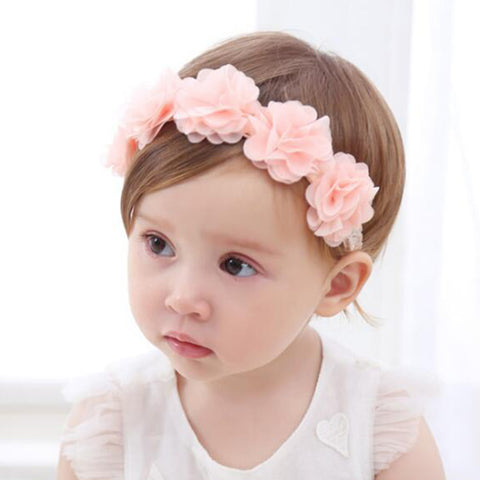 New Baby Flower Headband Pink Ribbon Hair Bands - Shopper Bytes