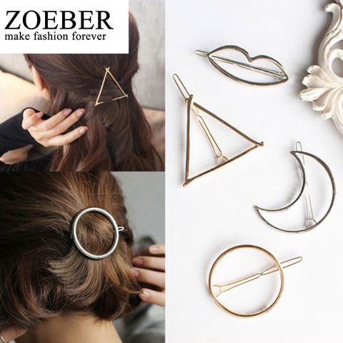 ZOEBER Moon Barrette Hair Clip Hair Accessories Round Popular Leaf triangle Shape Hairpins Women Lady Girls Scissors female - Shopper Bytes