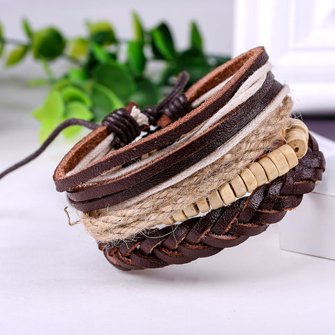 Fashion Accessories Rope Wood Bead Leather Bracelets & Bangles 1 Sets Multilayer Braided Wristband Bracelet Men women Jewelry - Shopper Bytes