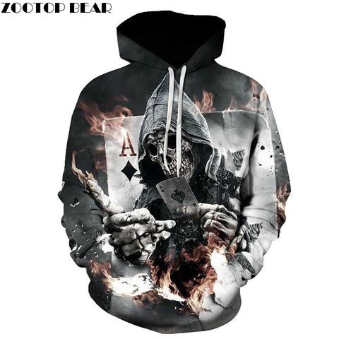 Skull Poker Hoodies Sweatshirts Men Women 3D Pullover Funny Rock Tracksuits Hooded Male Jackets Fashion Casual Outwear Winter - Shopper Bytes