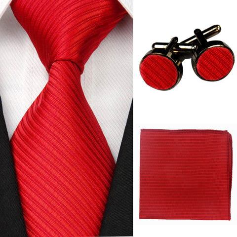 Accessories Ties for Men Solid Striped Pattern Business Silk Tie Sets Hanky Handkerchief Cufflinks Red Black Necktie Gravatas - Shopper Bytes