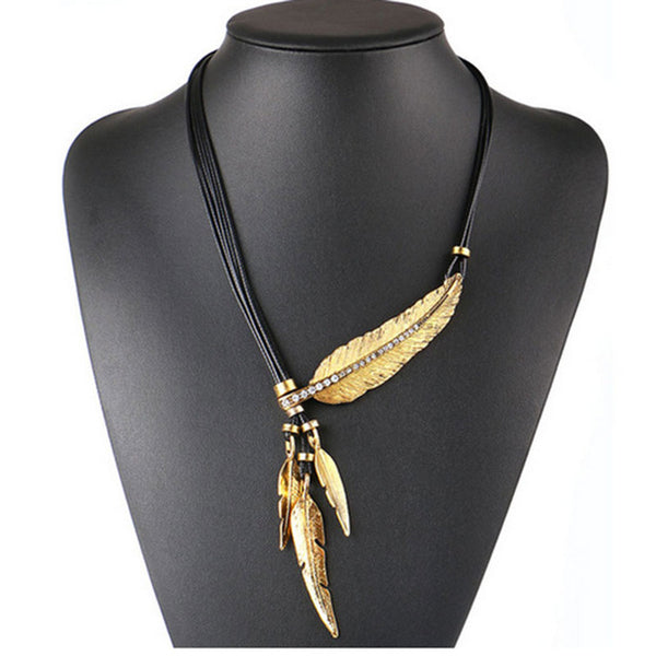 Necklace Alloy Feather Statement Necklaces Pendants Vintage  Rope Chain Necklace Women Accessories wholesale Jewelry - Shopper Bytes