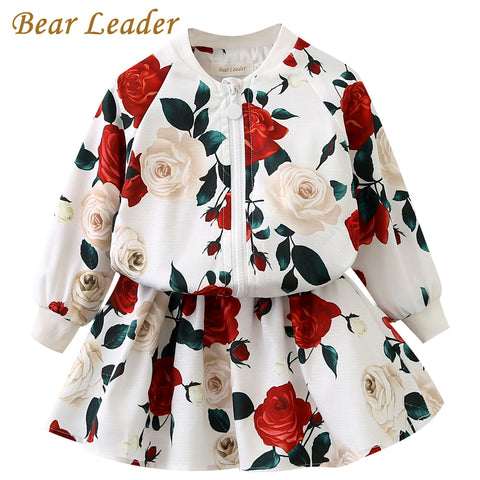 Bear Leader Girls Clothing Sets 2017 Fashion Girls Clothes Long Sleeve Floral Coats+Rose Floral Skirts 2Pcs  Kids Clothing Sets - Shopper Bytes