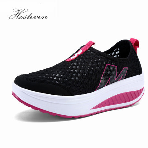 New Women's Shoes Casual Sport Fashion Shoes Walking Flats Height Increasing Women Loafers Breathable Air Mesh Swing Wedges Shoe - Shopper Bytes