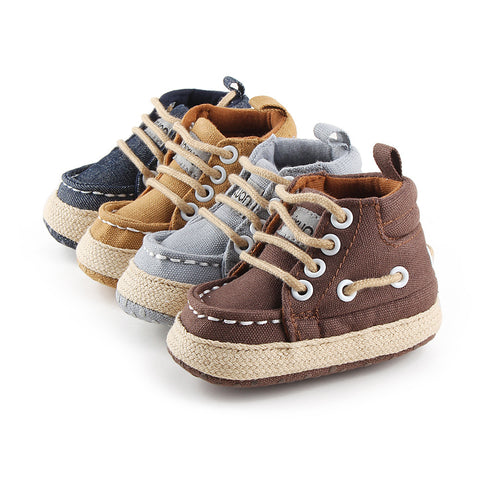 Baby Shoes Boys Girl High Top Shoe Infant Newborn Casual Canvas Prewalker Children Booties Kids Boots Bebe Sapatos Sport Sneaker - Shopper Bytes