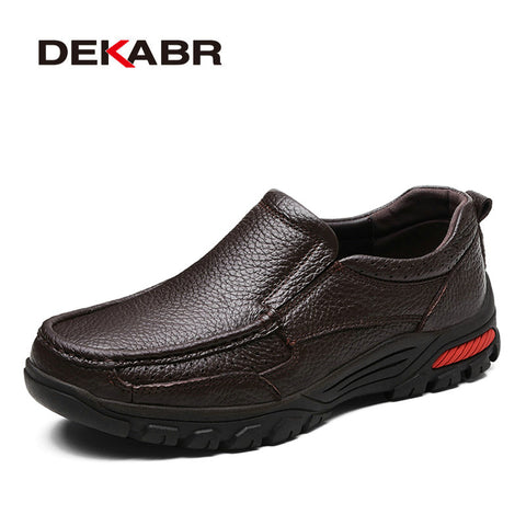DEKABR Fashion Comfortable Breathable Soft Genuine Leather Loafers Shoes Men High Quality Casual Falts Men Oxfords Size 38-48 - Shopper Bytes