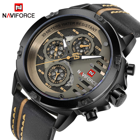 NAVIFORCE Mens Watches Top Brand Luxury Waterproof 24 hour Date Quartz Watch Man Leather Sport Wrist Watch Men Waterproof Clock - Shopper Bytes