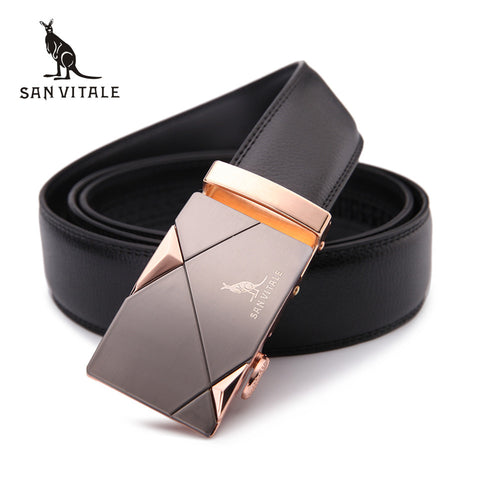 2017 men's belt fashion 100% Genuine Leather mens belts for men High quality metal automatic buckles Strap male for Jeans cowboy - Shopper Bytes