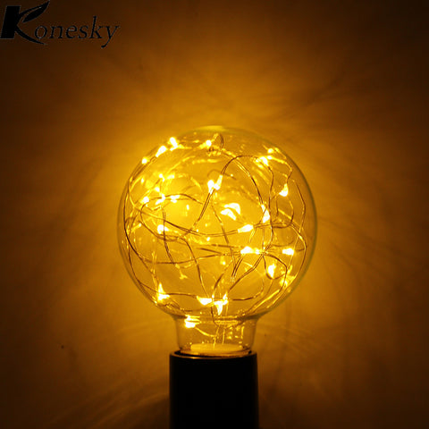 Konesky Vintage Fairy LED Bulb G80 E27 110-240V String light Filament lamp For Decor Christmas Holiday Wedding lighting - Shopper Bytes