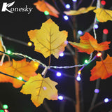10 LED Fairy Night Lights Autumn Leaf Light Harvest Fall Leaves lamp Garland Lights String Decor - Shopper Bytes
