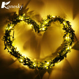 LED Green Leaves Garland Copper Wire String Light Fairy Lights for Glass Craft Bottle Fairy Valentines Wedding Lamp Party Xmas - Shopper Bytes
