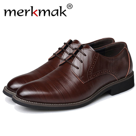 Merkmak Big Size 37-48 Oxfords Leather Men Shoes Fashion Casual Pointed Top Formal Business Male Wedding Dress Flats Wholesales - Shopper Bytes