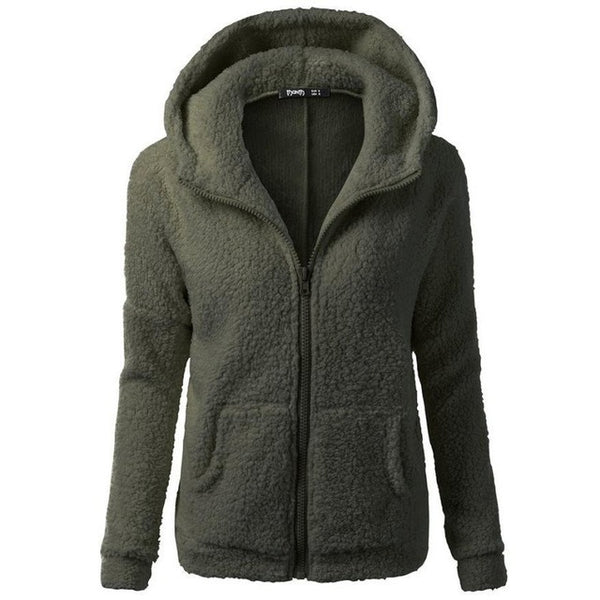FEITONG Women Hooded Sweater Coat Winter Warm Wool Zipper Coat Fashion Pockets Cotton Thick Coat Outwear Plus Size S~5XL#3 - Shopper Bytes